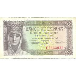 España 5 Ptas. 1943. SC-. (Nuevo con.lev.doblez en esquina). (Serie E-Isabel). EDF. D47 a - PIK. 127a