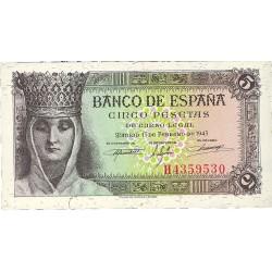 España 5 Ptas. 1943. SC. (Serie H-Isabel). EDF. D47 a - PIK. 127a