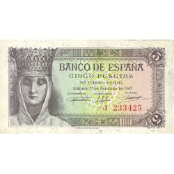 España 5 Ptas. 1943. SC. (Serie J-Isabel). EDF. D47 a - PIK. 127a