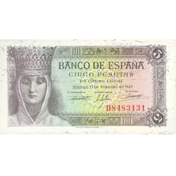 España 5 Ptas. 1943. SC. (Serie D-Isabel). EDF. D47 a - PIK. 127a