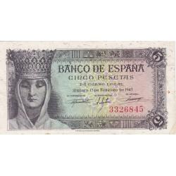 España 5 Ptas. 1943. EBC-. (Muy nuevo con lev. marquitas margen y algo de tono). (Serie E-Isabel). EDF. D47 a - PIK. 127a