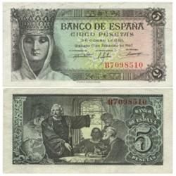 España 5 Ptas. 1943. SC-. (Nuevo con lev.marquitas que no afectan la papel). (Serie B-Isabel). EDF. D47 a - PIK. 127a