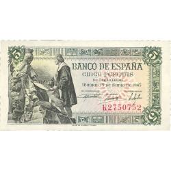 España 5 Ptas. 1945. EBC+/SC-. (Nuevo con marquita en margen). (Serie K-Capitulacion). EDF. D50 a - PIK. 129a
