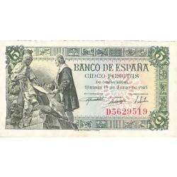España 5 Ptas. 1945. EBC+/SC-. (Nuevo con pqño.doblez en esquina y lev.ondulación). (Serie D-Capitulacion). EDF. D50 a - HG. 4