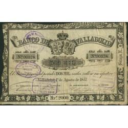 España Valladolid. . 2000 Reales. 1857. MBC. (Doblez y planchado). (Bco.de VALLADOLID). EDF. A126 - PIK. S435