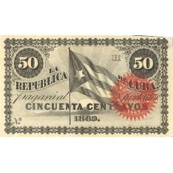 España 50 Ctvo. 1869. EBC+. (Nuevo con lev.marquita). (Serie H). ESCASO/A. EDF. CU27 - PIK. 54. (Sin número)