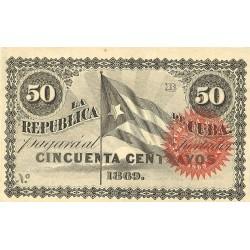 España 50 Ctvo. 1869. SC-/SC. (Nuevo con lev.marquita). (Serie B). ESCASO/A. EDF. CU27 - PIK. 54. (Sin número)