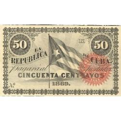 España 50 Ctvo. 1869. EBC+. (Nuevo con lev.marquita). (Serie K). ESCASO/A. EDF. CU27 - PIK. 54. (Sin número)