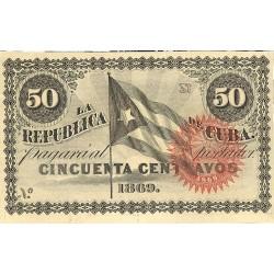 España 50 Ctvo. 1869. EBC+/SC-. (Nuevo con lev.marquita). (Serie N). ESCASO/A. EDF. CU27 - PIK. 54. (Sin número)