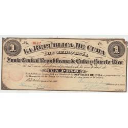 España 1 Pesos. 1869. EBC-. (Nuevo con lev.falta de papel esquina por polilla). (Serie C-Junta Central Republicana de Cuba y Pu