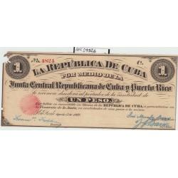 España 1 Pesos. 1869. EBC-. (Nuevo con falta de papel esquina por polilla). (Serie C-Junta Central de Cuba y Puerto Rico). EDF.
