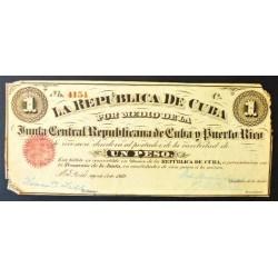 España 1 Pesos. 1869. EBC+. (Nuevo con falta de papel esquina por polilla). (Serie C-Junta Central Republicana de Cuba y Puerto