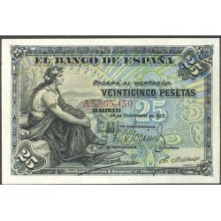 España 25 Ptas. 1906. MBC+/EBC-. (Doblez. Planchado.Muy bonito). (Serie A). EDF. B98a - PIK. 58a