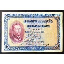 España 25 Ptas. 1926. 12-Octubre. MBC-. (Doblez). (Serie B-S.Javier). PIK. 71a - EDF. B109 a