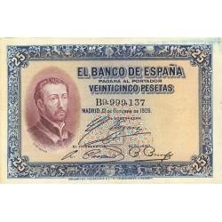 España 25 Ptas. 1926. 12-Octubre. MBC/MBC+. (Doblez.Manchita de su tinta en margen). (Serie B-S.Javier). EDF. B109 a - PIK. 71