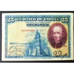 España 25 Ptas. 1928. BC+/MBC-. (Serie A-Calderon). PIK. 74 a - EDF. B112 a. (En circulacion durante Alfonso XIII)