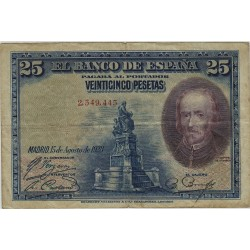 España 25 Ptas. 1928. BC. (Sin Serie-Calderon). PIK. 74 - EDF. B112. (En circuladción durante Alfonso XIII)