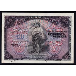 España 50 Ptas. 1906. 24 de Sepbre. MBC+/EBC-. (Lev.doblez.Mantiene apresto.Planchado.Muy bonito). (Serie C). EDF. B99a - PIK