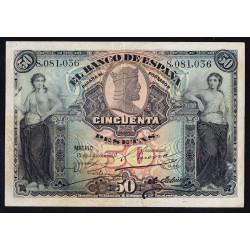España 50 Ptas. 1907. MBC. (Doblez). EDF. B103 - PIK. 63a