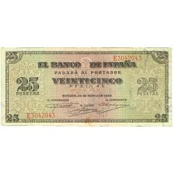 España 25 Ptas. 1938. MBC. (Doblez.Muy lev.manchita). (Serie E-Giralda). EDF. D33 a - PIK. 111a