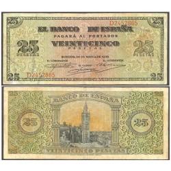 España 25 Ptas. 1938. MBC-. (Marcas de uso.Entero). (Serie D-Giralda). EDF. D31 a - PIK. 111a