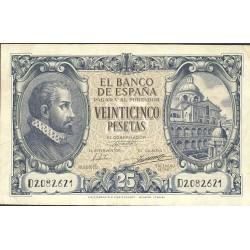 España 25 Ptas. 1940. MBC+. (Doblez.Planchado.Bonito.Entero). (Serie D-(Herrera). EDF. D37a - PIK. 116a