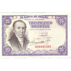 España 25 Ptas. 1946. SC-. (Nuevo con inapreciable marca de doblez que no afecta al papel). (Serie G-(Estrada). EDF. D51 a - P