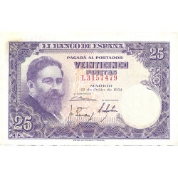 España 25 Ptas. 1954. SC-/EBC+. (Nuevo con lev.doblez). (Serie L-Albeniz). EDF. D68 a - PIK. 147a