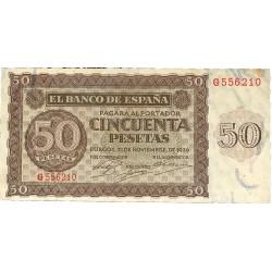 España 50 Ptas. 1936. EBC/EBC+. (Leve manchita del tiempo en esquina.Doblez.Planchado). (Serie G). EDF. D21 a - PIK. 99a