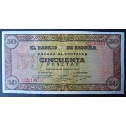 España 50 Ptas. 1938. SC/SC-. (Nuevo con lev.doblez/ondulacion.Todo su apresto. Con las caracteristicas del papel de la emisio