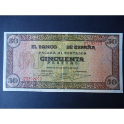 España 50 Ptas. 1938. SC-. (Nuevo con lev.doblez.Todo su apresto). (Serie E-Olite). MUY ESCASO/A. PIK. 112 - HG. 480