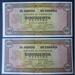 España 50 Ptas. 1938. SC. (Nuevos con Todo su apresto. Levisima ondulacion. Con las caracteristicas del papel de la emision) .