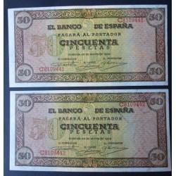 España 50 Ptas. 1938. SC-. (Nuevo con lev.doblez. Todo su apresto. Con las caracteristicas del papel de la emision). (Serie C-