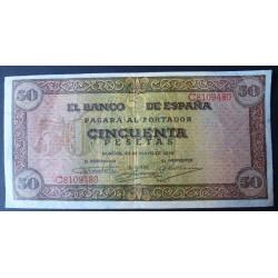 España 50 Ptas. 1938. SC-. (Nuevo con doblez y en esquina.Todo su apresto y algun pliege de su papel caracteristica de la emis
