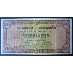 España 50 Ptas. 1938. MBC+. (Dobleces.Planchado). (Serie D-Olite). PIK. 112 - EDF. D32a