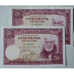 España 50 Ptas. 1951. MBC+/EBC-. (Muy nuevos con doblez. Marquitas.Su apresto). (Sin Serie-PAREJA correlativa-(Rusiñol). PIK.