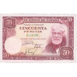 España 50 Ptas. 1951. EBC+. (Nuevo con doblez.Manchita de su tinta por doblez en rev. Apresto). (Sin Serie-Rusiñol). PIK. 141