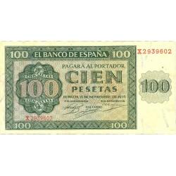 España 100 Ptas. 1936. EBC+. (Muy nuevo con doblez y marquitas. Muy bonito). (Serie X-Catedral). EDF. D22 a - PIK. 101a