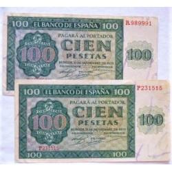 España 100 Ptas. 1936. MBC-/MBC. (Doblez-Entero). (Serie R-Catedral). PIK. 101 - HG. 484
