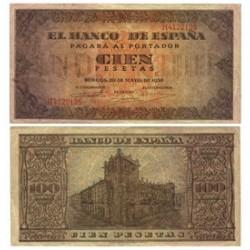 España 100 Ptas. 1938. MBC. (Doblez.Entero). (Serie H-Casa del Cordon). EDF. D33 a - PIK. 113a