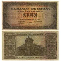 España 100 Ptas. 1938. MBC+. (Leve uso.Doblez.Entero). (Serie G-Casa del Cordon). EDF. D33 a - PIK. 113a