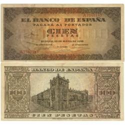 España 100 Ptas. 1938. EBC+. (Muy nuevo con inapreciable doblez.Planchado.Precioso). (Serie A-Casa del Cordon). EDF. D33 - PIK