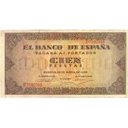 España 100 Ptas. 1938. MBC. (Leve uso.Doblez.Entero). (Serie D-Casa del Cordon). EDF. D33 a - PIK. 113a