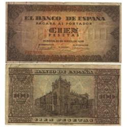 España 100 Ptas. 1938. MBC-. (Doblez). (Serie F-Casa del Cordon). PIK. 113a - HG. 485