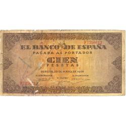 España 100 Ptas. 1938. MC. (Roturitas). (Serie F-Casa del Cordon). PIK. 113a - HG. 485