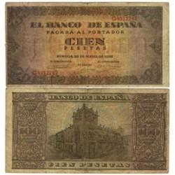 España 100 Ptas. 1938. BC+. (Marcas.Dobleces). (Serie G-Casa del Cordon). PIK. 113a - HG. 485