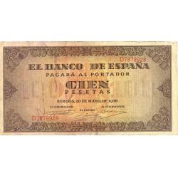 España 100 Ptas. 1938. MBC-. (Doblez). (Serie D-Casa del Cordon). PIK. 113a - HG. 485