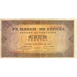 España 100 Ptas. 1938. MBC-. (Roturitas y margen recortado.Planchado). (Serie G-Casa del Cordon). EDF. D33 a - PIK. 113a