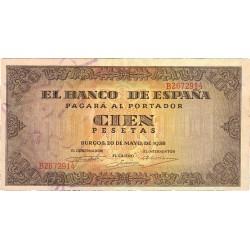 España 100 Ptas. 1938. EBC-. (Muy nuevo con doblez. Leve planchado). (Serie B-Casa del Cordon). EDF. D33 a - PIK. 113a