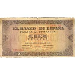 España 100 Ptas. 1938. MC+. (Roturas margenes). (Serie D-Casa del Cordon). PIK. 113a - HG. 485